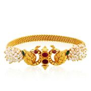 22k 22ct Pearl And Peacock Fine Indian Gold Temple Work Bracelet Bangle Gift