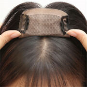 Silk Base Frontal Remy Human Hair Clip In Topper Bang Hairpiece Cover Loss Hair