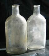 Vtg Qty 2 Vintage Cork Top Anchor Hocking Apothecary Bottles Pharmacy Rx
