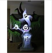 Halloween Inflatable Grave Scene Skeletons Ghosts On Dead Tree With Tombstone Os