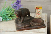 Antique German Black Forest Wood Carved Ashtray Matches Holder Set Bear Figurine