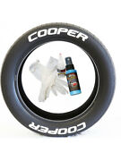 8 X Tyre Stickers Permanent Raised Blue Letters Cooper 1.25 For 17-18 Wheels