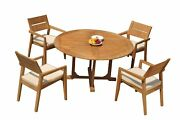 Dsvl A-grade Teak 5pc Dining Set 60 Round Table 4 Stacking Arm Chairs Outdoor