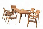Dsvl A-grade Teak 7pc Dining Set 60 Rectangle Table 6 Stacking Arm Chairs Patio