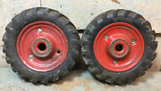 1 Pair Vintage Snyder Toy Tractor Tires 4andrdquo Hard Rubber Metal Rims Red Original