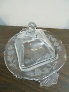 Heisey Rose Crystal Waverly 6-1/2 Square Butter Dish Horse Head Finial Cover