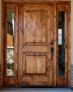 36x80 Tuscany Rustic Style Knotty Alder Entry Door With Sidelites