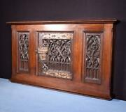Antique French Gothic Cabinet Door And Frame In Solid Oak Wood Salvage