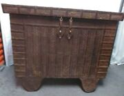 Dowry Chest From India. Vintage Metal Filigree Over Wood Wooden Wheels And Axel