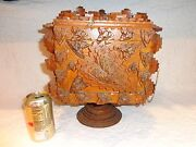Vintage Wooden Tramp Art Table Top Fall-front Chest, Two Drawers, Folk Art