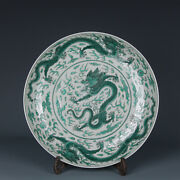 Old Fine Chinese Porcelain Tongzhi Marked Green Colour Dragon Cloud Plates 11.8