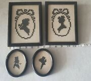 4 Vintage Needlepoint Cross Stitch Silhouette Colonial Man Woman Picture Lot