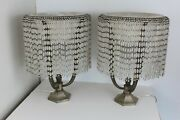 Art Deco Table Lamps Alabaster Shade And Frosted Glass Beads