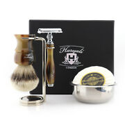 Shaving Kit With Silver Tip Badger Hair Brush + Soap Brush And Safety Razor Stand