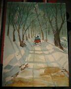 One Horse Open Sleigh Ride Snow Winter Landscape Signed T. Coyle