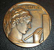 By Delannoy France Pure Art Deco Reconnaissance Blood Donors Bronze Medal