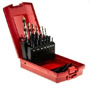 Dormer Hss-e And Hss-tin Tap And Drill Bit Set 14-pieces M3-m12 Self-centering