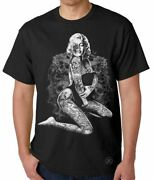 Marilyn Monroe Skull Pose T-shirt Sexy Pinup Girl Tee Tattoos Ink