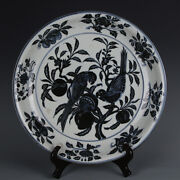 Chinese Fine Porcelain Xuande Marked Blue White Pomegranate Bird Plate 15.7