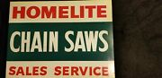 Vintage Homelite Chainsaw Sign Collectible Double Sided Nos