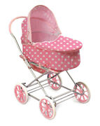 New Pink Polka 3 In 1 Large Doll Buggy Stroller Pram Toy Carriage Carry Bed