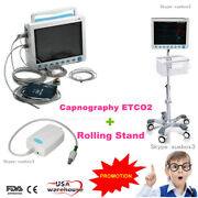 Etco2 Portable Vital Signs Icu Patient Monitor With Rolling Stand Capnograph Fda
