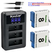 Kastar Battery Lcd Triple Charger For Gopro Ahdbt-801 Gopro8 Hero 8 Hd Black
