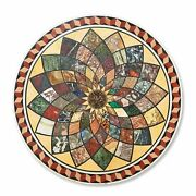36 Marble Table Top Multi Color Stone Handmade Inlay Work Home Furniture