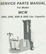 Yale Mcw 2k-4k Lbs Electric Walk Behind Forklift Service Parts Manual Itd-1425