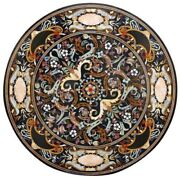 48 Black Marble Table Top Pietra Dura Decorative Handmade For Home Decor Gift