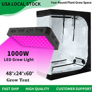 1000w Led Grow Lights Full Spectrum + 4and039 X 2and039 Hydroponic Grow Tent Kit Grow Box