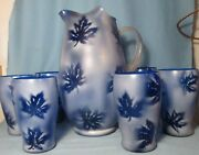 Cobalt Blue Frosted Art Glass Pitcher With Applied Reed Handle And 6 Tumblers