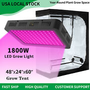 1800w Led Grow Light Full Spectrum + 4and039 X 2and039 Hydroponic Grow Tent Kit Grow Box