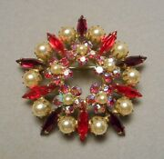 1950s Sherman Canada Rhinestone Starburst Brooch Pin - Red Marquise And Faux Pearl