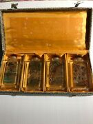 Boxed Set Crystalglass Reverse Painted Snuff Bottles 3.25in Tall River Scenes
