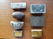 Antique Collection Of Small Fishing Or Other Tins Lot Of 7 From England