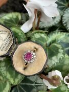 Antique Edwardian 18ct Yellow Gold Ruby And Diamond Ring.