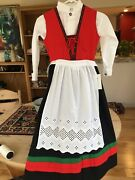 Girl Red Beauty Traditional Norwegian Bunad 6 Yrs Eu116 Cotton From Norway
