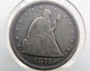 Antique Rare 1875 S Silver Seated 20 Cent Coin