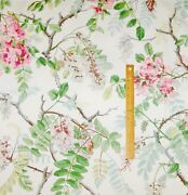Schumacher Wisteria Floral Cotton Print Fabric 10 Yards Shabby Pink Green Amber