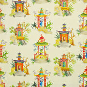 Clarence House Enchanted Pagodas Chinoiserie Toile Linen Fabric 10 Yards Beige