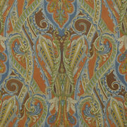 Clarence House Paisley Medallions Darius Linen Fabric 10 Yards Blue Brown Multi