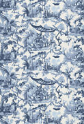 Schumacher Warp Chinoiserie Asian Cathay Toile Fabric 10 Yards Blue