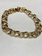 Wide And Heavy Vintage 14k Yellow Gold Double Link Charm Bracelet 8andrdquo 26.4g