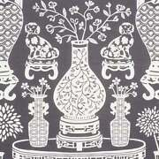 Schumacher Chinoiserie Vases Dogs Linen Fabric 10 Yards Charcoal Black