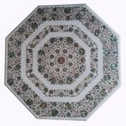48 X 48 Marble Dining/ Center Floral Table Top Semi Precious Stones Inlay Work