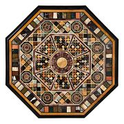 42 X 42 Black Marble Dining Sofa Pietra Dura Floral Table Top Inlay Work
