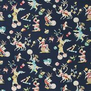 Brunschwig And Fils Chinoiserie Circus Entertainers Fabric 10 Yards Navy Multi