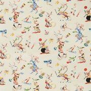 Brunschwig And Fils Chinoiserie Circus Entertainers Fabric 10 Yards Red Multi