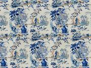 Brunschwig And Fils Chinoiserie Le Lac Toile Fabric 5 Yards Blue White